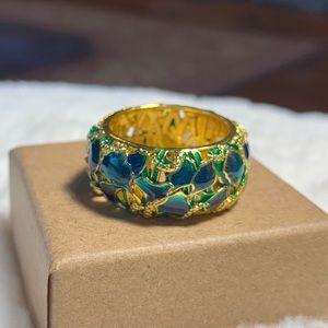 Iris flower resin inlay ring